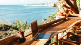 Digital work: laptop with sea view
